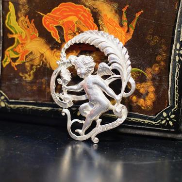 Vintage Sterling By Cini Virgo Cherub Brooch, Intricate Sterling Silver Cupid Pin, Art Nouveau, Virgo Zodiac/Astrological Sign, 925 Jewelry by shopGoodsVintage