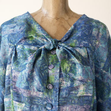 50s Vintage SILK INDIGO PRINT Plus Size Midi Dress, Ascot Shawl V-neck Neckline Button Front Pleated Skirt Mid Century Short Sleeves 2X 18W by MOBIUSMOD