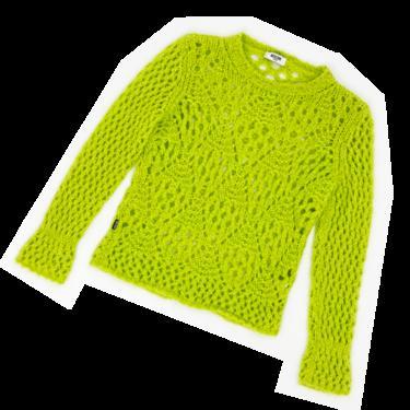 Moschino green mohair open knit sweater