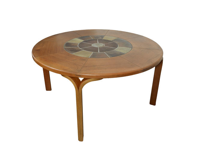 Round Teak Dining Table with Tile Center Haslev Danish Modern by HearthsideHome