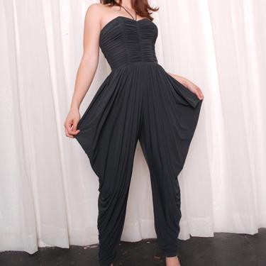 Vintage Charcoal Grey  Silk Jersey Jumpsuit (Extra Small) by 40KorLess