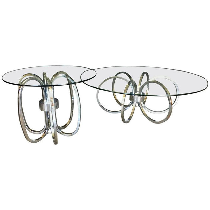 Chrome and Glass Coffee and End Table by HermansSteelGarage