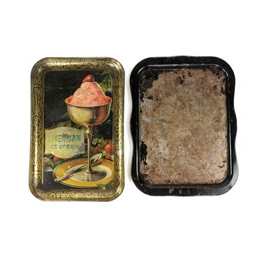 Two Antique Ice Cream Parlor Metal Serving Trays by BluffStProps