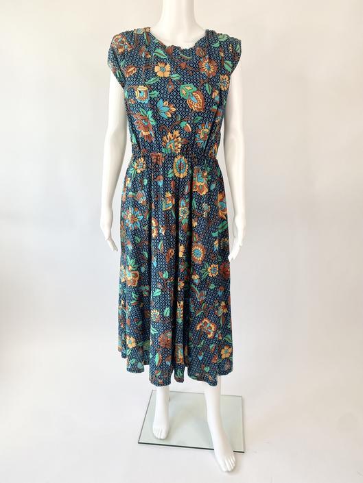 Aqua Cotton Floral 80's Dress