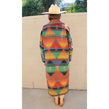 Pioneer Wear Blanket Coat // wool boho hippie dress jacket southwest southwestern 80s 90s oversize leather // O/S by FenixVintage