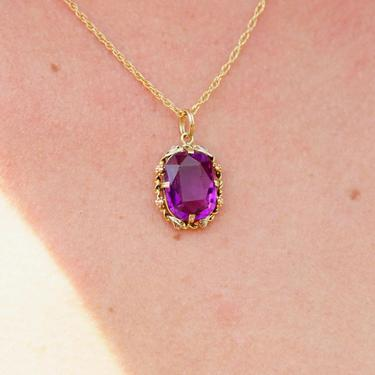Vintage 10K Gold Amethyst Glass Pendant, Vibrant Purple & Yellow Gold Necklace Pendant, Ornate Gold Pendant With Oval Cut Glass by shopGoodsVintage