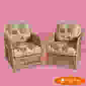 Pair of Split Bamboo Low Back Arm Chairs
