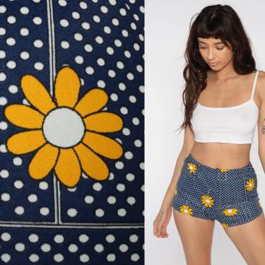 60s Swim Shorts Floral Hot Pants Bikini Bottoms BOYSHORT 70s Mod High Waist Swimsuit Vintage Hotpants Blue Polka Dot Daisy Small S by ShopExile