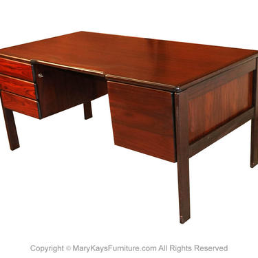 Mid Century Danish Rosewood Executive Desk by Bornholm by Marykaysfurniture