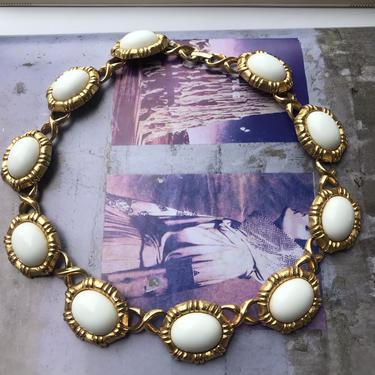 1980s Gold + White Enamel Monet Necklace