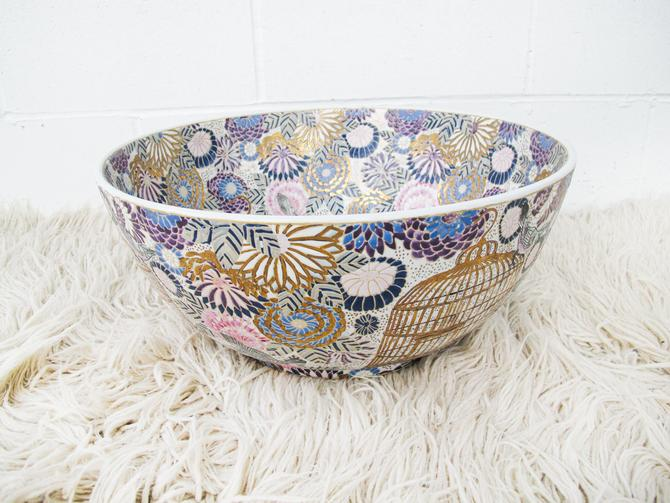 Extra Large Hand Painted and Etched Chinois Bowl Chinoiserie Ceramic Bowl - Made in China by PortlandRevibe