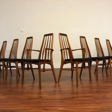 Koefoeds Hornslet 1960s Teak Eva Dining Chairs - Set of 8 by Vintagefurnitureetc