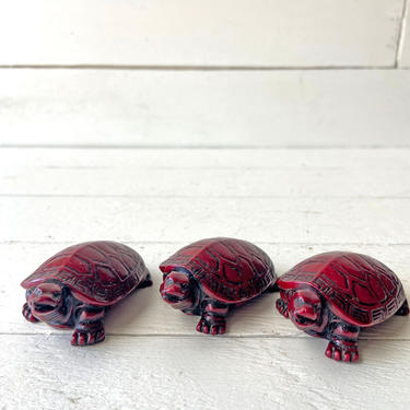 Vintage Mahogany Resin Turtles, Set of 3, Money Turtle   Good Luck Charm, Turtle Lover, Collector, Knick Knack, Perfect Gift, Desk Decor by CuriouslyCuratedShop