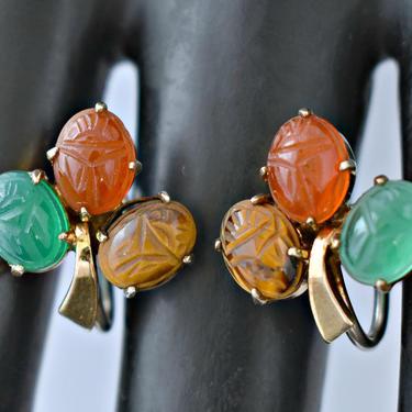 40's Egyptian Revival sterling vermeil tigers eye chrysoprase carnelian scarab screw back, gilded 925 silver carved gemstone beetle earrings by BetseysBeauties