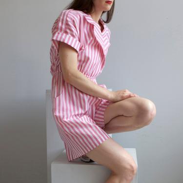 vintage pink & white striped summer romper jumpsuit / 10 P by EELT
