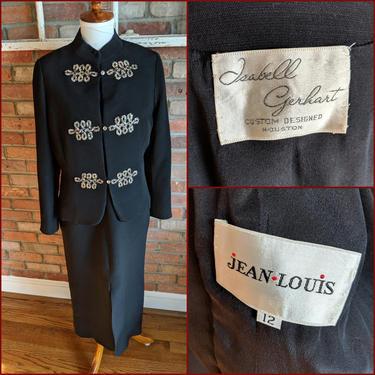 Vintage 1960's/70's Isabell Gerhart Black and Ornate Rhinestone Dress and Jacket Set by BeesKneesVintageDC