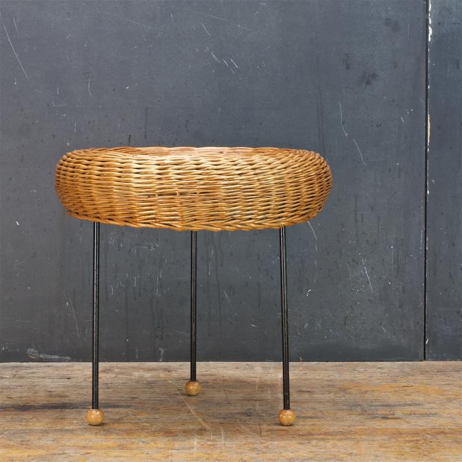 Tony Paul Wicker Catch-All Bowl Vintage Mid-Century Modern Dish Side Table by BrainWashington