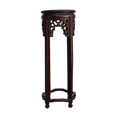 Chinese Red Brown Mahogany Round Straight Legs Pedestal Stand cs5255E by GoldenLotusAntiques