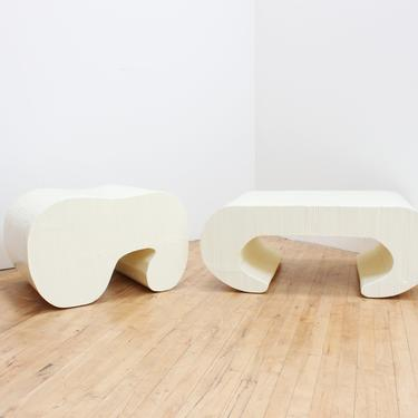 Abstract Rattan Coffee Table Bench Karl Springer Style Avant Garde Bamboo White Cream Sculptural Furniture Vintage by 330ModernAntique