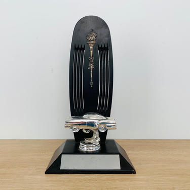 Vintage Silver and Black 1950s Automobile Trophy by DelveChicago