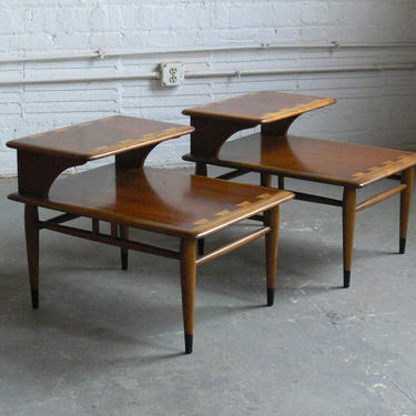 Mid Century Modern Lane Acclaim Two Tier End/Side Tables (Set of 2) by CoMod