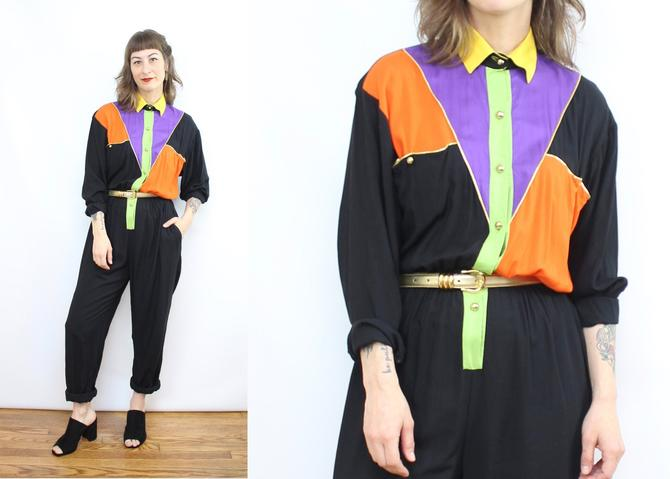 Vintage 90's COLOR BLOCK Jumpsuit / 1990's Rayon Jumpsuit / Women's Size Small by RubyThreadsVintage