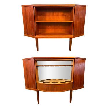 Vintage Danish Mid Century Modern Teak Corner Bar Cabinet in the Manner of Torbjorn Afdal by AymerickModern