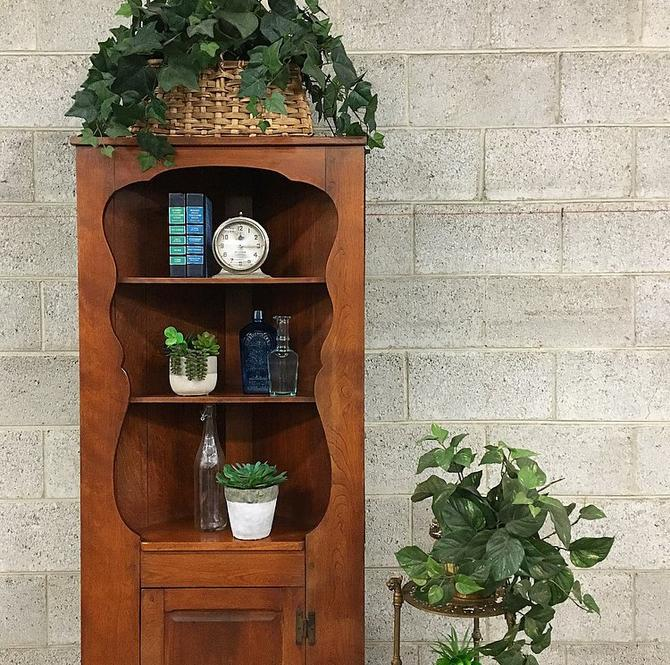 LOCAL PICKUP ONLY Vintage Corner Hutch Retro 1980s Brown Maple Wood Farmhouse Cabinet with 5 Shelves for Kitchen Living or Dining Room by RetrospectVintage215