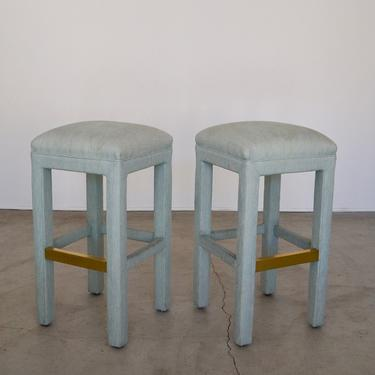 Pair of Fabulous 1970's Hollywood Regency Parsons Bar Stools in the Manner of Milo Baughman with Brass! by CyclicFurniture