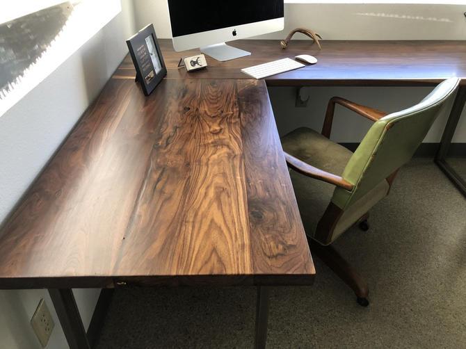 Walnut L shaped desk. Modern office desk. Solid wood desk. Executive desk. Dark wood desk. Hardwood desk. Walnut Table. Industrial desk. by UrbanIndustrialNW