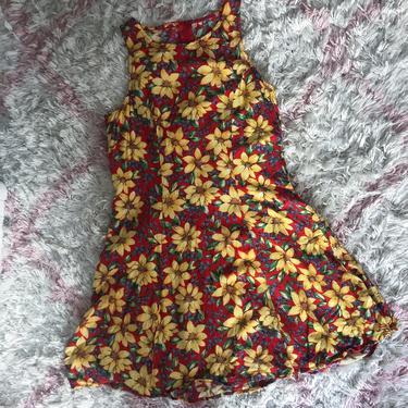 Vintage 90s Sleeveless Red Sunflower Mini Dress XS by theaspentree