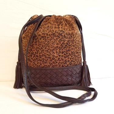 RARE! Bottega Veneta Intrecciato Leather + Leopard fur Drawstring Tassel Bag by TradingTraveler
