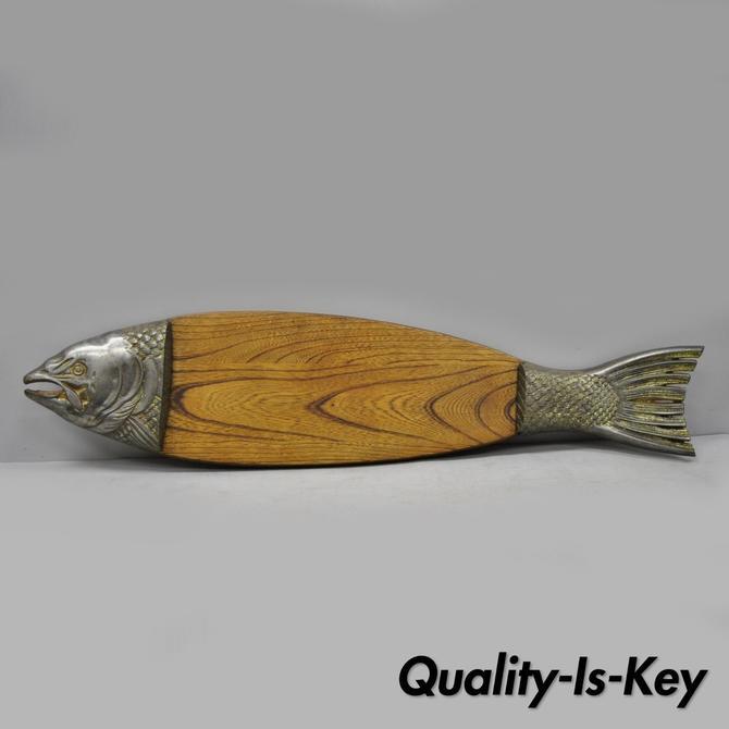 "Vtg Mid Century 35"" Oak & Metal Fish Platter Wall Sushi Tray Cutting Board Japan"