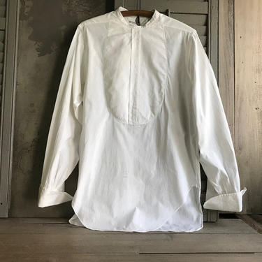 Antique Mens Formal White Dress Shirt, French Cuff, by Arrow, Original Tag, Edwardian Formal Wear, Period Clothing by JansVintageStuff