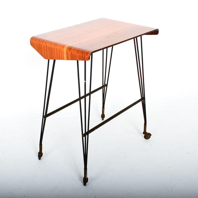 Midcentury ITALY Stay at Home TV Carrello Table, Rolling Desk Media Office by AMBIANIC