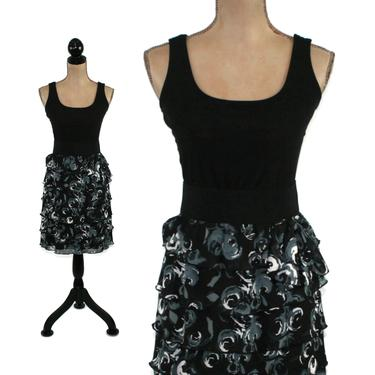 Sleeveless Fit & Flare Mini Dress Small, Black Floral Chiffon Tiered Ruffle, Short Cocktail Party, 2000s Clothes Women, Vintage Y2K Clothing by MagpieandOtis