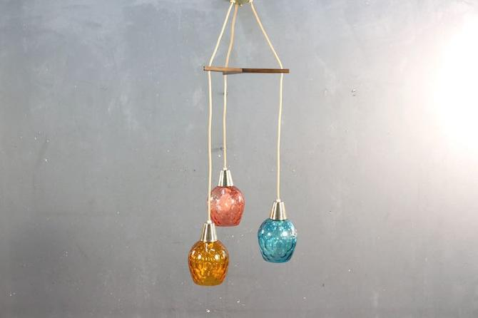 Mid Century Colorful Glass Pendants Chandelier