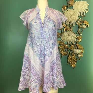 1970s Indian blouse, vintage tunic, paper this cotton, adini dress, metallic thread, flutter sleeves, bohemian, medium, gauze block print by BlackLabelVintageWA