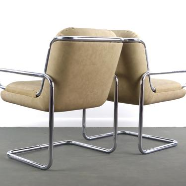 Mid Century Modern Lounge Chairs in Tubular Chrome and Newer Tan Upholstery by ABTModern