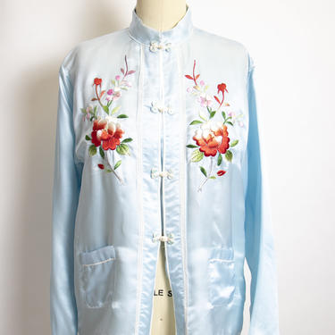 Vintage 1950s Chinese Embroidered Lounge Jacket Asian Robe Small S by dejavintageboutique