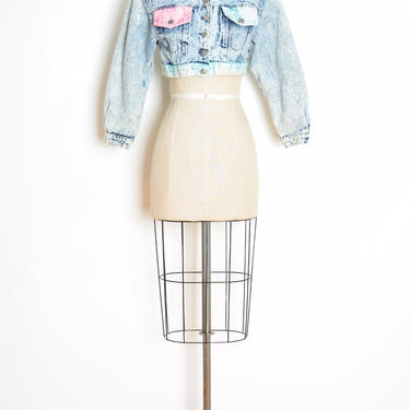 vintage 80s jacket acid wash denim cropped jean coat short button up XS S clothing by huncamuncavintage