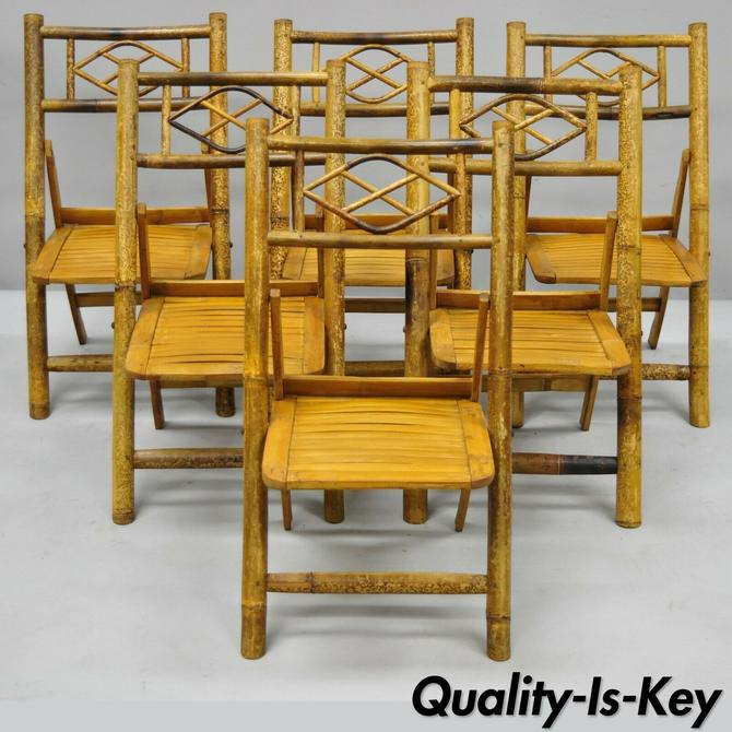 6 Vintage Childrens Bamboo Folding Game Dining Chairs Tiki Rattan Cane Furniture