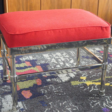 POTTERY BARN OTTOMAN/Footstool - Restored New Upholstery - Chrome Finish - Hollywood Regency by CovetModernDesign