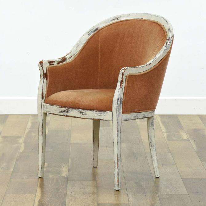 White Washed Shabby Chic Barrel Back Armchair