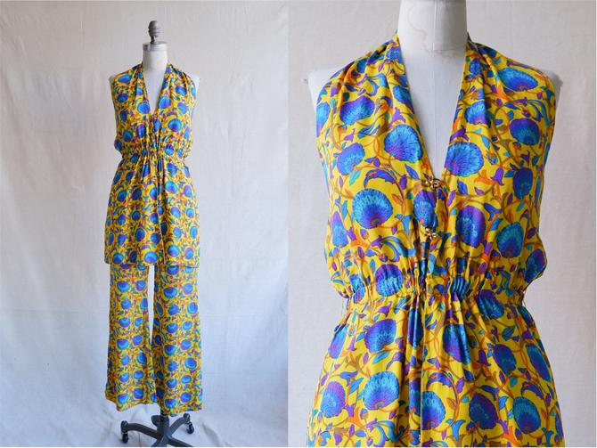 Vintage 60s Bendel Silk Floral Halter Two Piece Set/ 1960s Colorful Suit with Wide Leg Trousers/ Size XS Small by bottleofbread