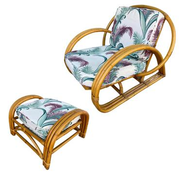 Restored Three-Strand Half Moon Cobra Back Lounge Chair with Ottoman by HarveysonBeverly