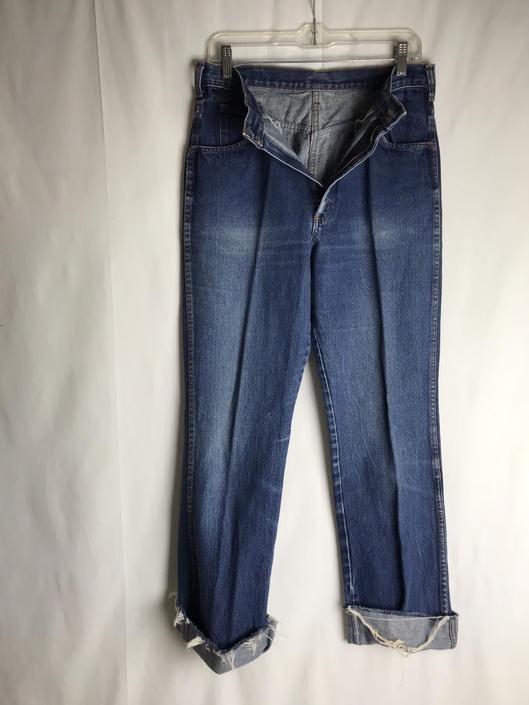 "70's denim jeans~ high waisted mom jeans~ Branders distressed indigo blue jeans~ long & lean 1970's ~32 Waist x 32"" by HattiesVintagePDX"