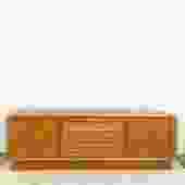Danish Modern Lowboy Dresser with Tambour Doors