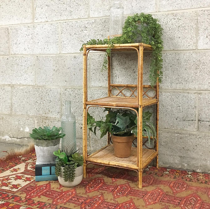 Vintage Rattan Rack Retro 1980's Bohemian Woven Straw and Bamboo + 3 Tier Shelf + Bentwood + Detailed + Home Organization + Storage + Decor by RetrospectVintage215