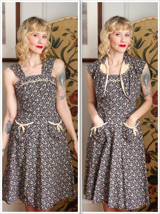 1950s Dress // JCPennys Floral Dress & Bolero // vintage 50s dress by dethrosevintage
